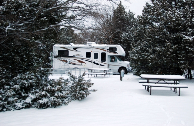 RVs are great for camping in the snow. Plus you don't have to worry about dealing with crowds.