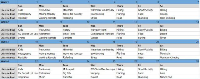 Campground Social Media Schedule
