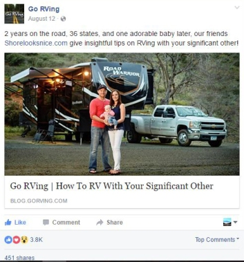 example of our posts performing on facebook for go rving